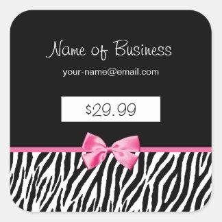 Preço preto e branco na moda do impressão da zebra adesivo quadrado