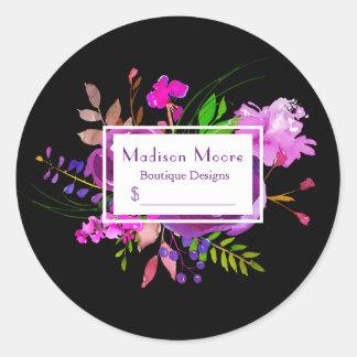 Preço roxo do buquê floral da aguarela adesivo