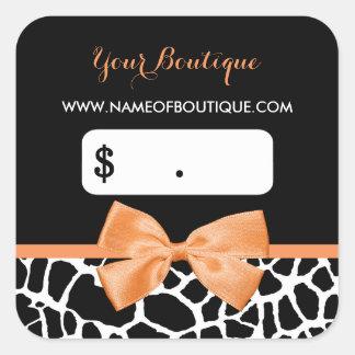 Preços alaranjados femininos do boutique do adesivo quadrado