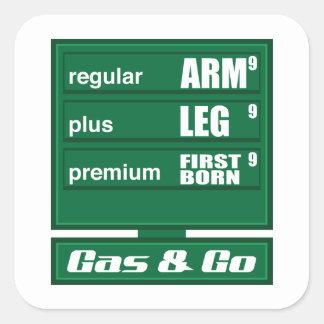 Preços de gás altos adesivo quadrado
