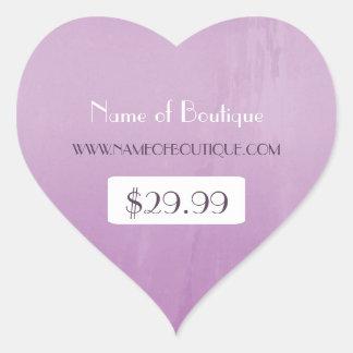 Preços roxos chiques simples do varejo do boutique adesivo coração