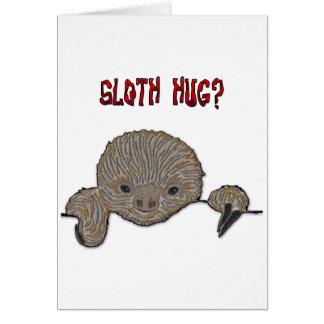Preguiça do bebê do abraço da preguiça cartão comemorativo