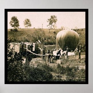 Preparando um balão militar, moinho de Gaines, VA  Poster