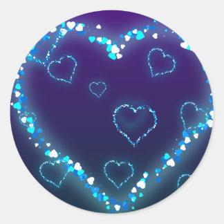 Presente azul do amor do coração de Bling do Adesivo