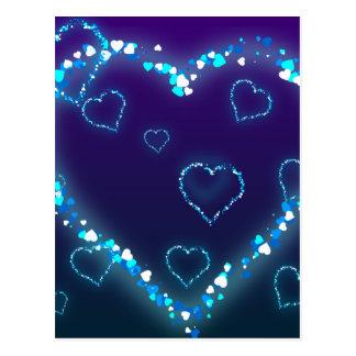 Presente azul do amor do coração de Bling do Cartão Postal