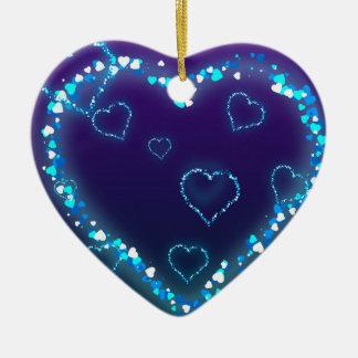 Presente azul do amor do coração de Bling do Ornamento De Cerâmica Coração