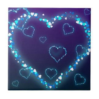 Presente azul do amor do coração de Bling do prese Azulejo Quadrado Pequeno