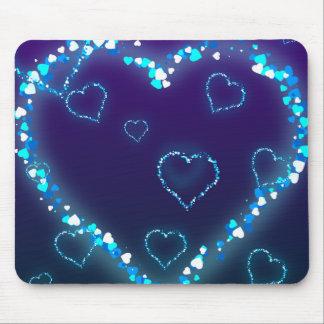Presente azul do amor do coração de Bling do prese Mouse Pad