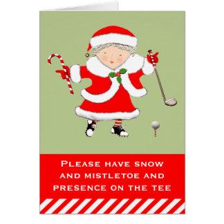 presente de época natalícia do golfe das mulheres cartão comemorativo