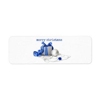 Presente festivo azul e de prata Lablels Etiqueta Endereço De Retorno