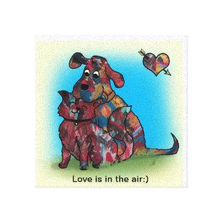Presente original - amantes do cão e gato - canvas impressão em tela