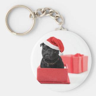 Presente ou presente preto do cão do pug chaveiro