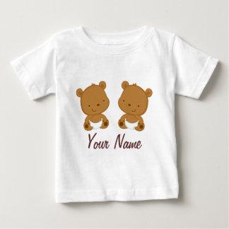 Presente personalizado do bebê urso gêmeo camiseta