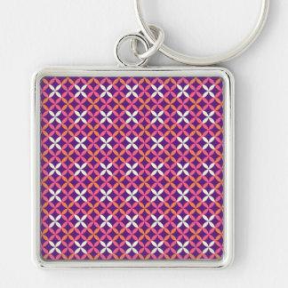 Presente transversal branco cor-de-rosa roxo chaveiro quadrado na cor prata