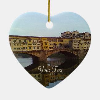 Presente velho de Florença Italia da ponte de Ornamento De Cerâmica Coração