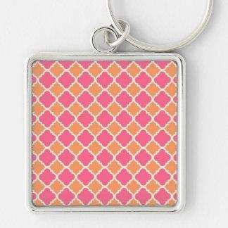 Presentes cor-de-rosa e alaranjados do teste chaveiro quadrado na cor prata