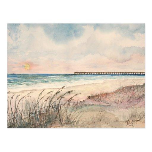 Presentes da arte da praia do Seascape Cartões Postais