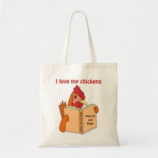 Presentes da galinha eu amo meu saco de Resusabale Sacola Tote Budget