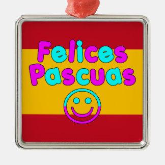 Presentes da páscoa para auto-falante espanhóis ornamento quadrado cor prata