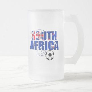 Presentes do futebol de África do Sul da bandeira Caneca De Cerveja Vidro Jateado