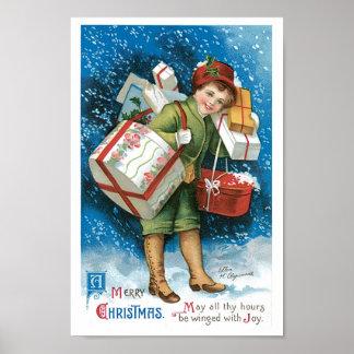 Presentes do natal vintage poster
