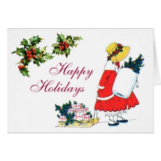 Presentes festivos cartão comemorativo