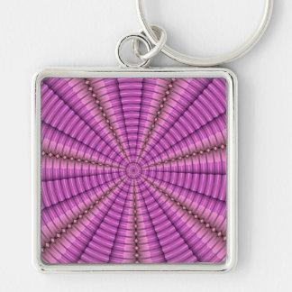 Presentes roxos cor-de-rosa legal do teste padrão  chaveiro quadrado na cor prata