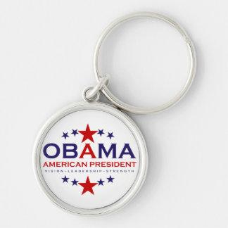 presidente americano Obama Chaveiro Redondo Na Cor Prata