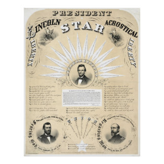 Presidente Lincoln Acrostic Estrela 1864 Impressão