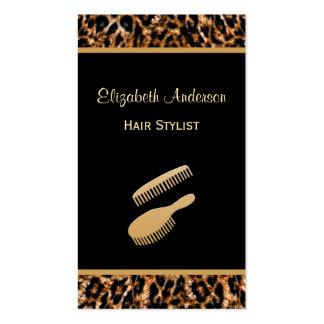 Preto à moda da escova e cabeleireiro do leopardo