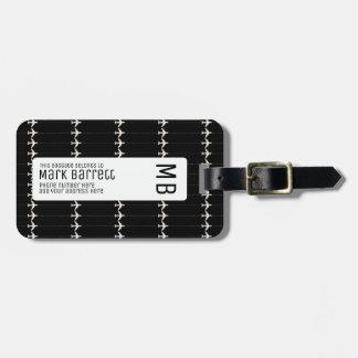 preto, à moda & monogrammed (nome & iniciais) etiqueta de bagagem