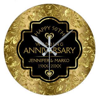 Preto & aniversário de casamento dos damascos 50th relógio grande
