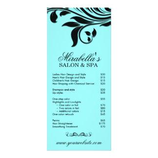 Preto azul floral da folha dos termas do cartão da 10.16 x 22.86cm panfleto