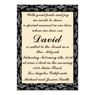Preto/bar Mitzvah do creme/convite do aniversário Convite 12.7 X 17.78cm