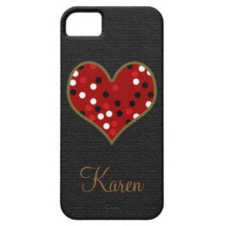 preto bonito pessoal/vermelho pontilha o coração capa barely there para iPhone 5