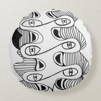 Preto branco almofada redonda