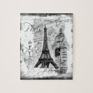 Preto & branco da colagem da cena da torre Eiffel  Quebra-cabeça De Foto