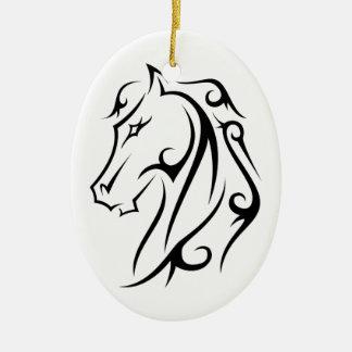 Preto branco do ornamento principal de cavalo