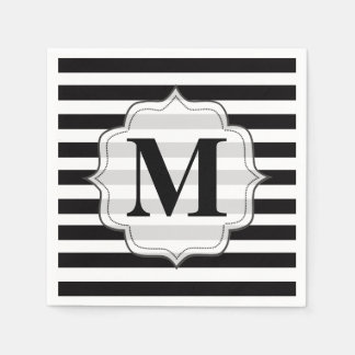 Preto & branco listra guardanapo do monograma guardanapos de papel