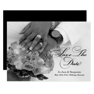 Preto & branco - salvar a data - #2D Wedding Convite 12.7 X 17.78cm
