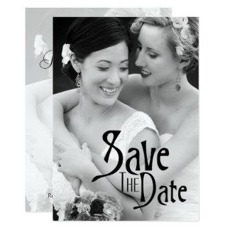 Preto & branco - salvar a data & a foto convite 12.7 x 17.78cm