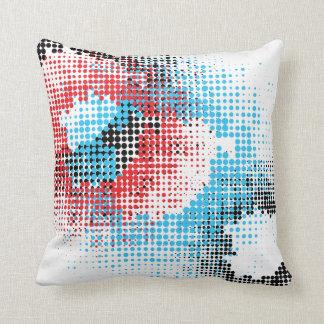 Preto, branco, vermelho & travesseiro azul almofada