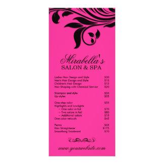 Preto cor-de-rosa floral da folha dos termas do ca 10.16 x 22.86cm panfleto