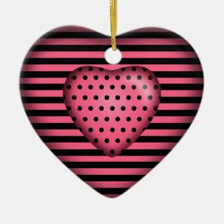 Preto cor-de-rosa listrado do coração   das ornamento de cerâmica coração