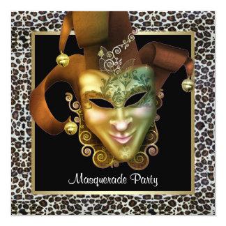 Preto da máscara do leopardo e partido do convites personalizados