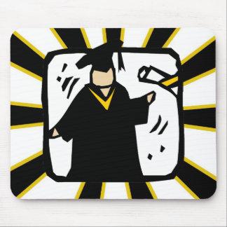 Preto de recepção graduado & ouro do diploma (2) mousepad