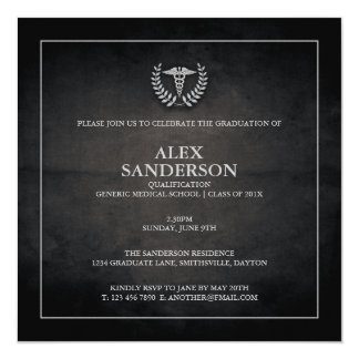Preto do anúncio | da graduação da Faculdade de Convite Quadrado 13.35 X 13.35cm