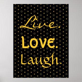 Preto do riso do amor e teste padrão de estrelas v poster