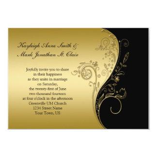 Preto do vintage e redemoinhos florais do ouro que convite 12.7 x 17.78cm