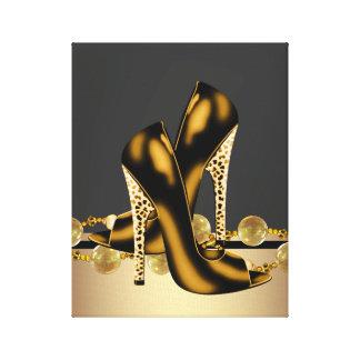 Preto e boutique dos calçados do salto alto do leo impressão em tela